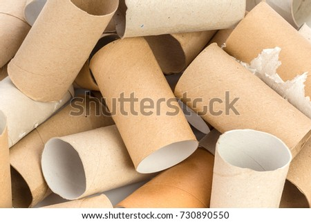 Empty toilet paper on white background