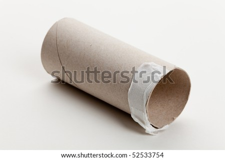 Empty Toilet Paper Roll close up - stock photo