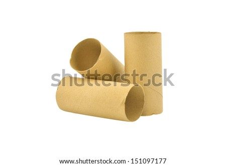 Empty toilet paper rolls isolated on white background