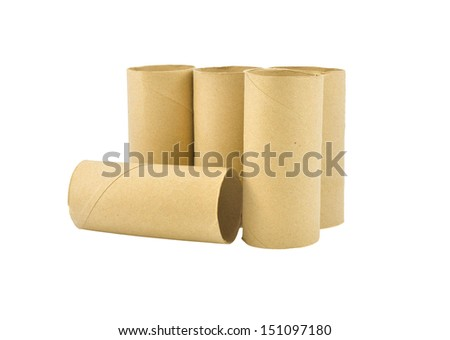 Empty toilet paper rolls isolated on white background  - stock photo