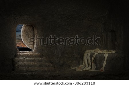 Empty tomb of Jesus with crosses on far hill - stock photo