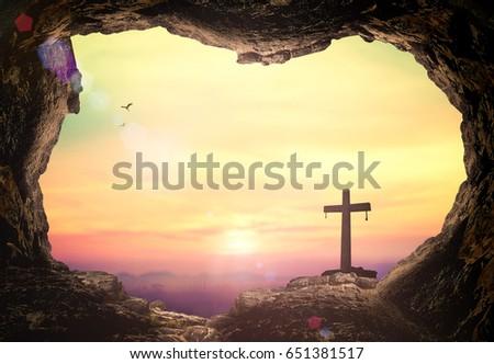 Empty Tomb Cross Symbol Jesus Christ Stock Photo Edit Now