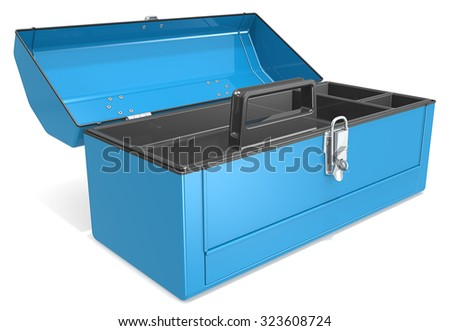 Empty Toolbox. Empty and open blue metal Toolbox.