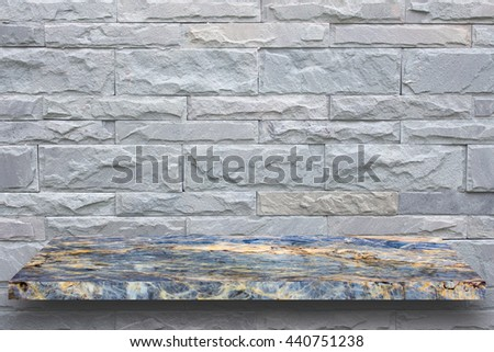 Empty top marble shelves and stone wall background / for product display montage product display
