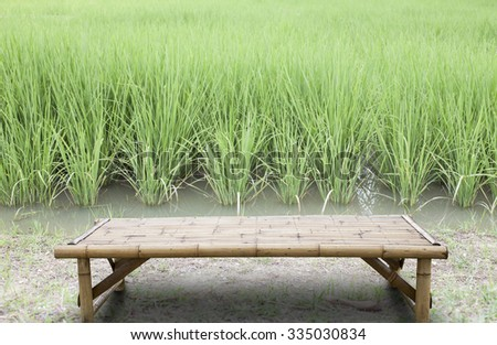 Empty top of bamboo wood table on Green Asian Rice,For product display - stock photo