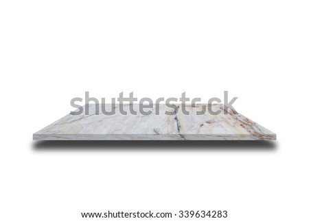 Empty top of natural marble patterned table or counter isolated on white background. For product display