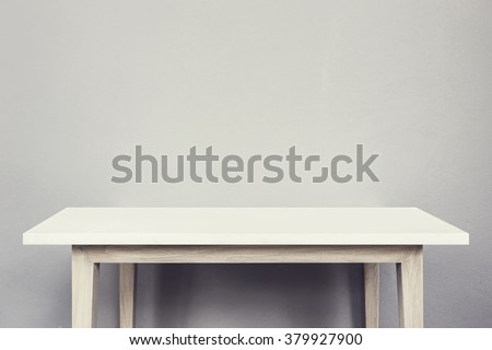 Empty top of natural stone table and grey wall background. For product display