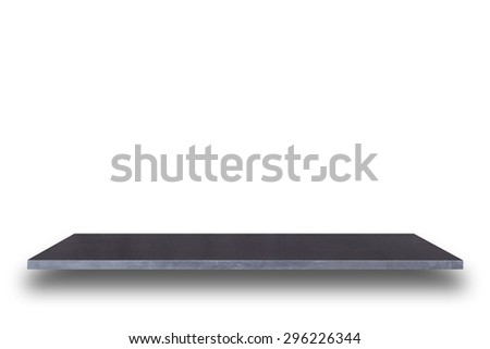 Empty top of natural stone table or counter isolated on white background. For product display