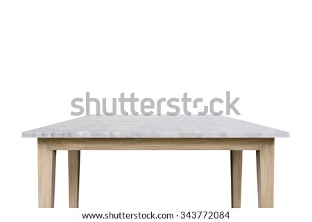 Empty top of white mable stone table isolated on white background. For product display