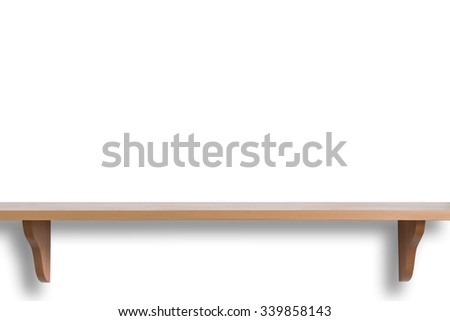 Empty top of wooden shelf isolated on white background. For product display