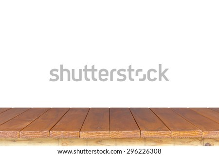 Empty top of wooden table or counter isolated on white background. For product display - stock photo