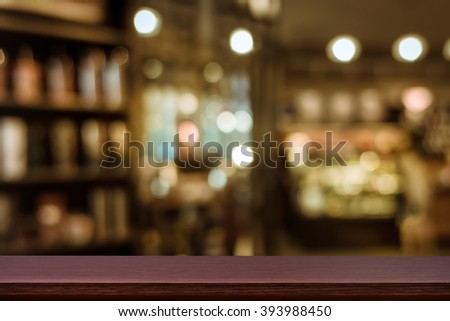 Empty top of wooden table or counter on cafeteria, bar, coffeeshop background. For product display