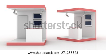 Empty trade show kiosk, original three dimensional models. - stock photo
