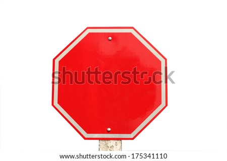 empty traffic red  stop sign on  white background - stock photo