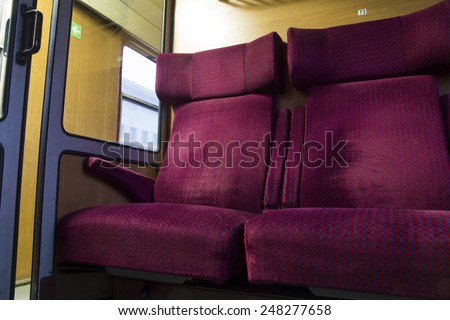 Empty train seats ,first class, in Bulgaria, from worms view - stock photo
