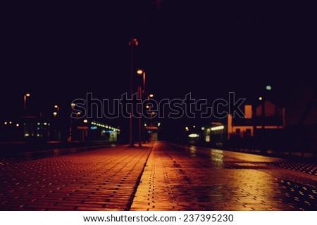 Empty train station at night - stock photo