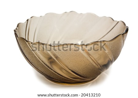 Empty transparent brown bowl, isolated on white - stock photo