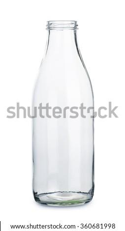 Empty transparent milk bottle isolated on the white background - stock photo