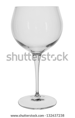 empty transparent wine glass on white background