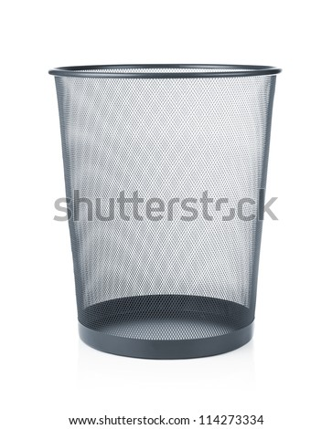 Empty trash, garbage bin isolated on white background - stock photo