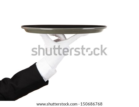 Empty tray in hand waiter isolated on white - stock photo