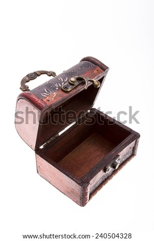 Empty treasure chest isolated on white - stock photo