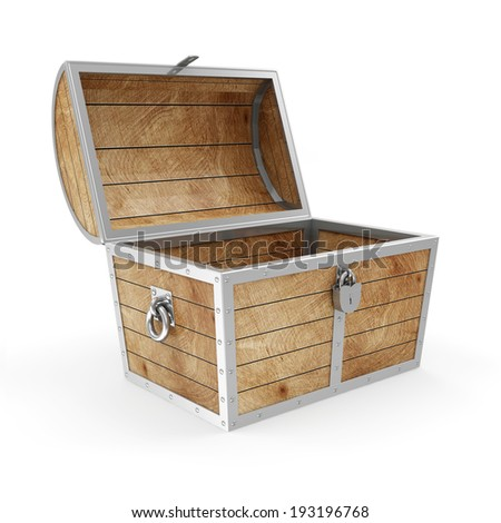 Empty Treasure Chest isolated on white background - stock photo