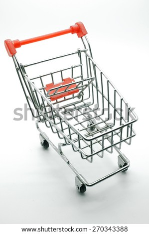 Empty trolley on white background - stock photo