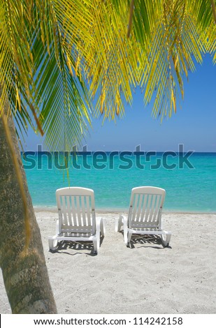 Empty tropical beach chairs on sand at shoreline with palm trees in front  in the Caribbean - stock photo