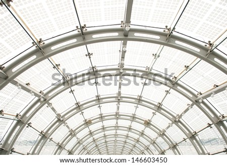 Empty tunnel in the modern office building. - stock photo
