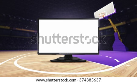 empty TV screen on basketball court at arena, sport topic arena interior illustration
