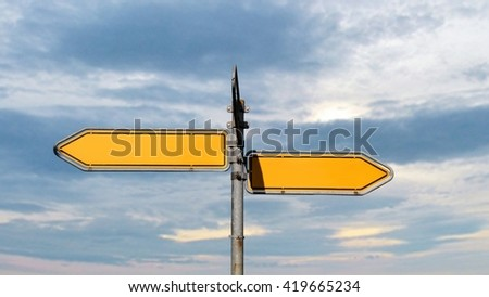 empty two Way Street Sign on blue sky background - stock photo