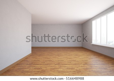Empty unfurnished interior with city view and daylight. 3D Rendering