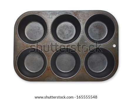 Empty Used Muffin Tray  - stock photo