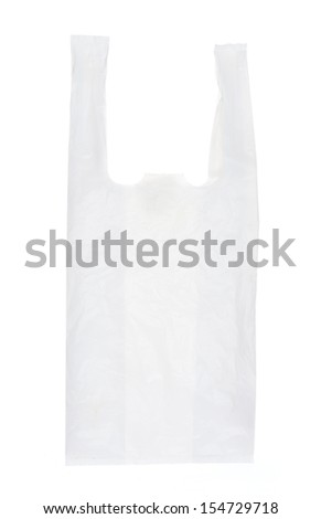 empty used Plastic bag,recycle. isolated on white - stock photo