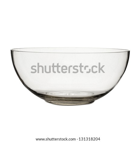 empty vase of glass, isolated on a white background - stock photo