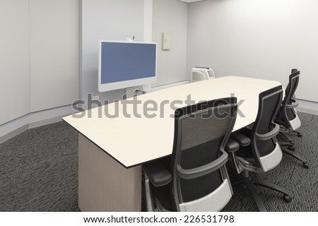 Empty video conference room - stock photo
