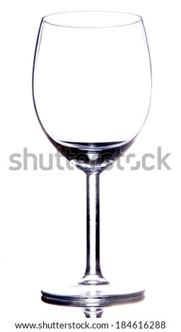 Empty vine glass on white