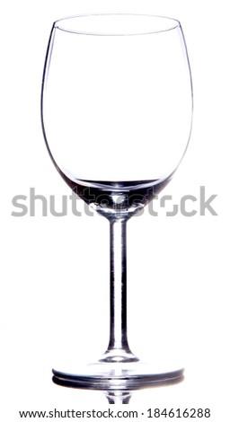 Empty vine glass on white - stock photo