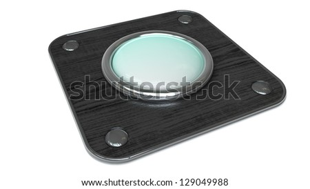 Empty vintage button on wooden board isolated over white background. High resolution 3d render