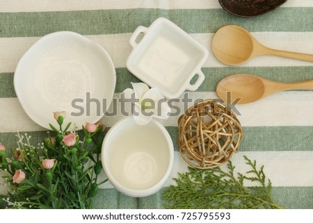 Empty vintage dinning decoration set for food stylist work concept