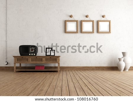 empty vintage interior with old radio and frame - rendering - stock photo