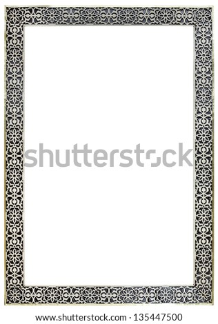 Empty Vintage Moroccan Pewter Mirror Frame Isolated with Clipping Paths - stock photo
