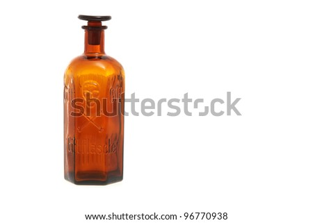 Empty vintage poison bottle with the skull and bones symbol - stock photo