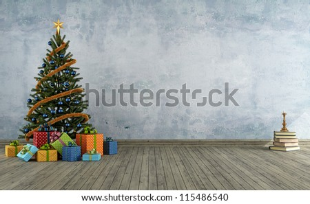 empty vintage room with christmas tree and colorful gift - rendering - stock photo