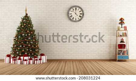 Empty vintage room with little bookshelves and christmas tree - rendering  - stock photo