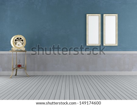 Empty vintage room with wooden old radio - rendering