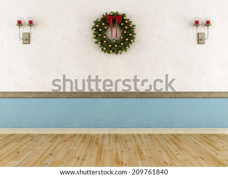Empty vintage room with wreath and candle without furniture-rendering - stock photo