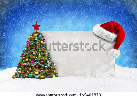 empty wall with christmas decorations and snow - stock photo