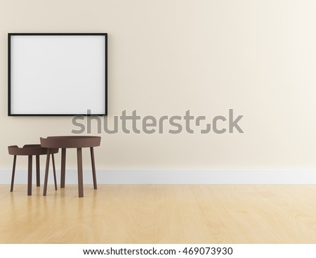 Empty wall with empty poster. Living room interior. Scandinavian interior. 3d illustration